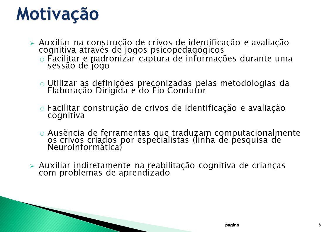 Motivação Auxiliar na construção de crivos de identificação e avaliação cognitiva através de jogos psicopedagógicos.