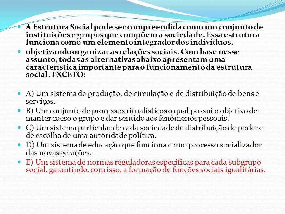 A Estrutura Social pode ser compreendida como um conjunto de instituições e grupos que compõem a sociedade. Essa estrutura funciona como um elemento integrador dos indivíduos,