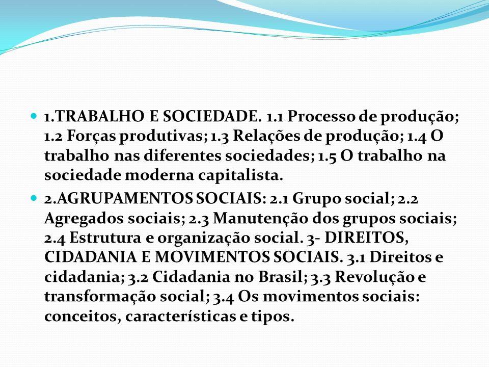1. TRABALHO E SOCIEDADE. 1. 1 Processo de produção; 1