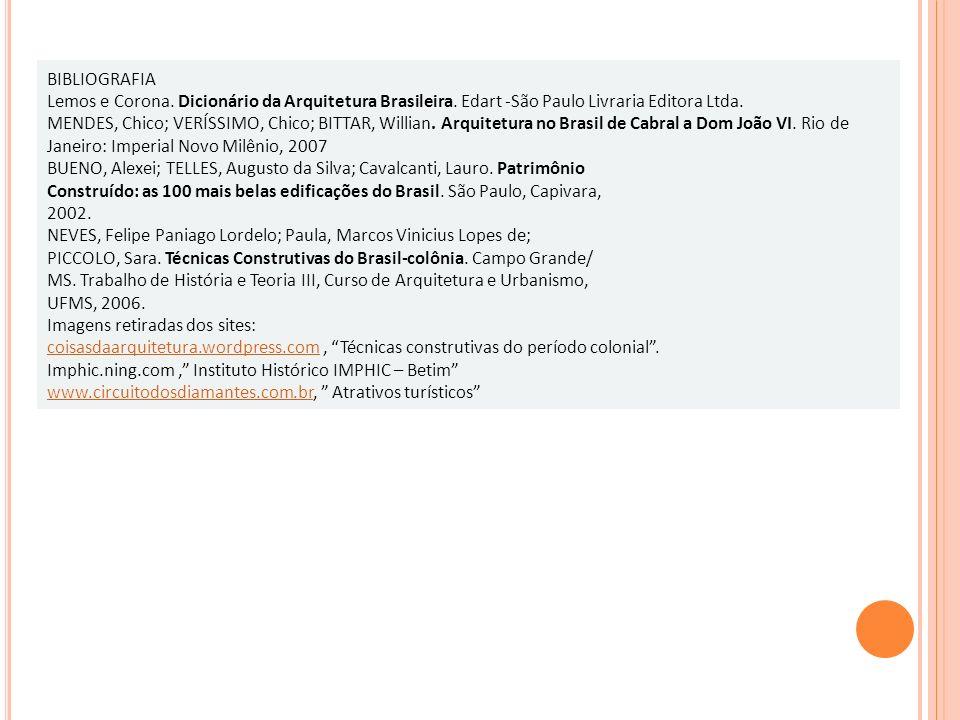 BIBLIOGRAFIA Lemos e Corona. Dicionário da Arquitetura Brasileira. Edart -São Paulo Livraria Editora Ltda.