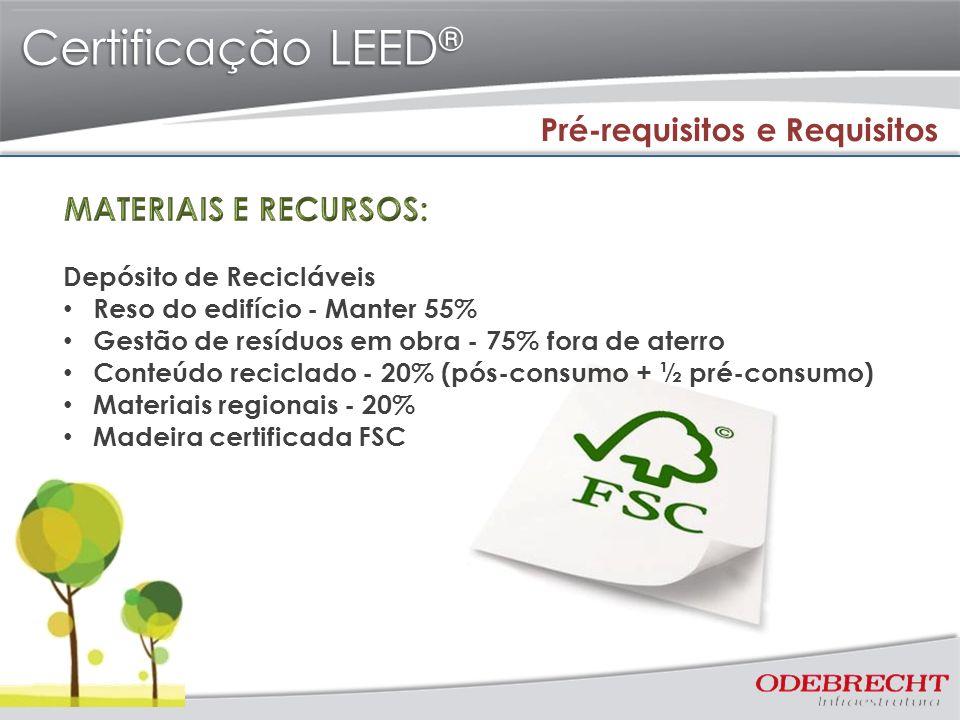 Certificação LEED® Pré-requisitos e Requisitos MATERIAIS E RECURSOS: