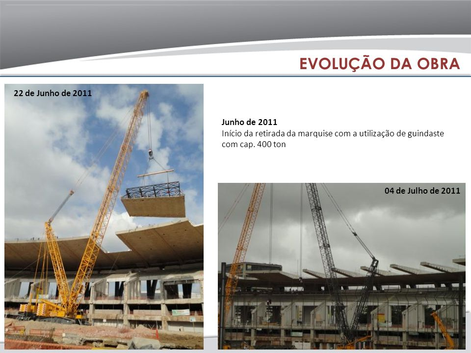 EVOLUÇÃO DA OBRA 22 de Junho de 2011 Junho de 2011