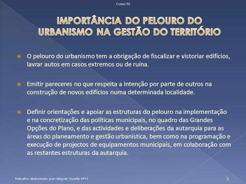 IMPORTÂNCIA DO PELOURO DO URBANISMO NA GESTÃO DO TERRITÓRIO