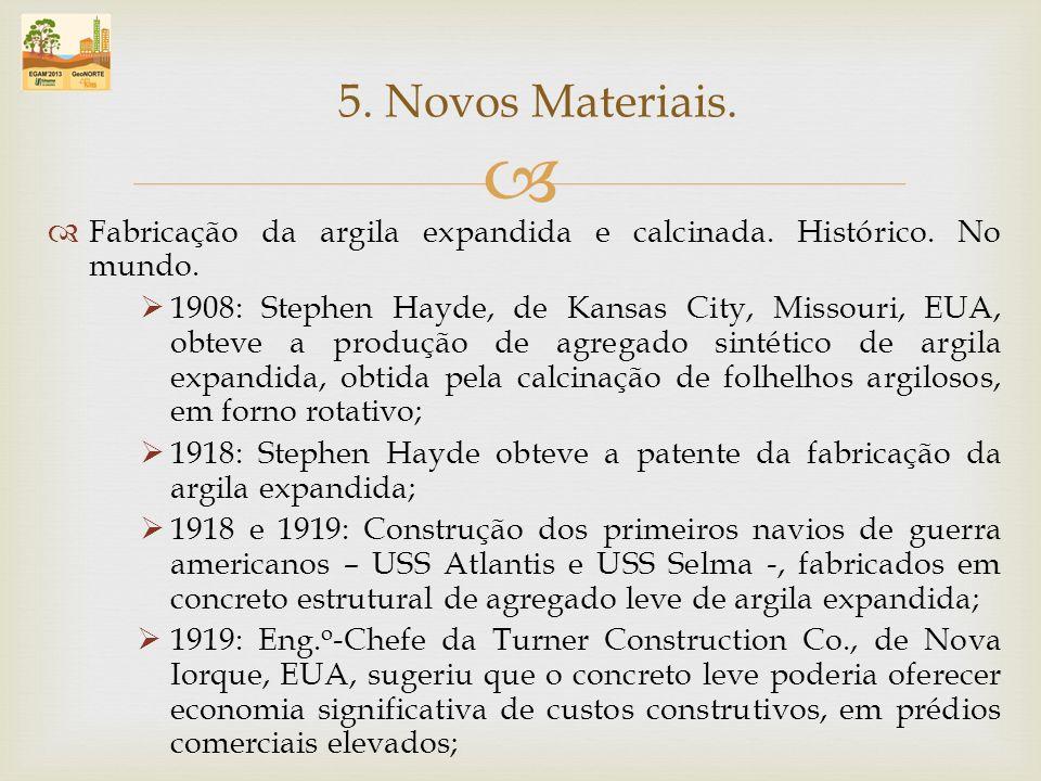 5. Novos Materiais. Fabricação da argila expandida e calcinada. Histórico. No mundo.