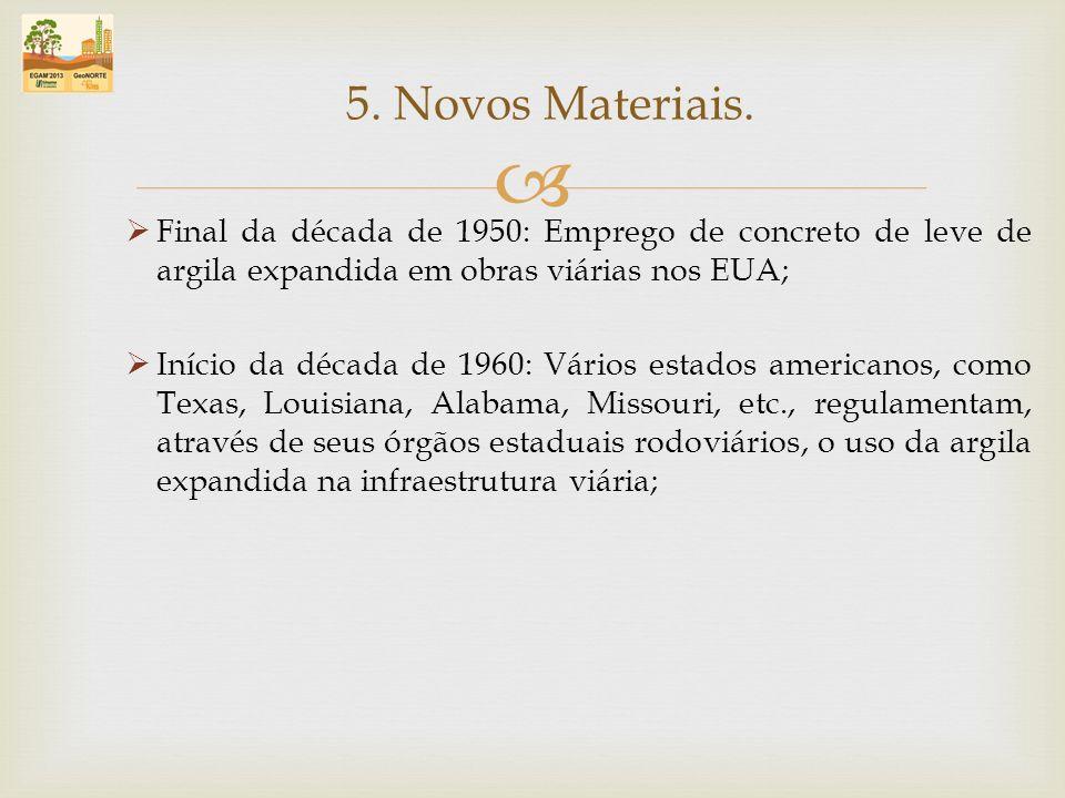 5. Novos Materiais. Final da década de 1950: Emprego de concreto de leve de argila expandida em obras viárias nos EUA;