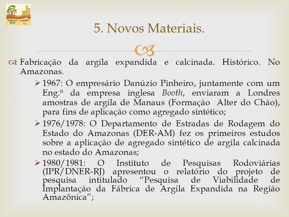 5. Novos Materiais. Fabricação da argila expandida e calcinada. Histórico. No Amazonas.