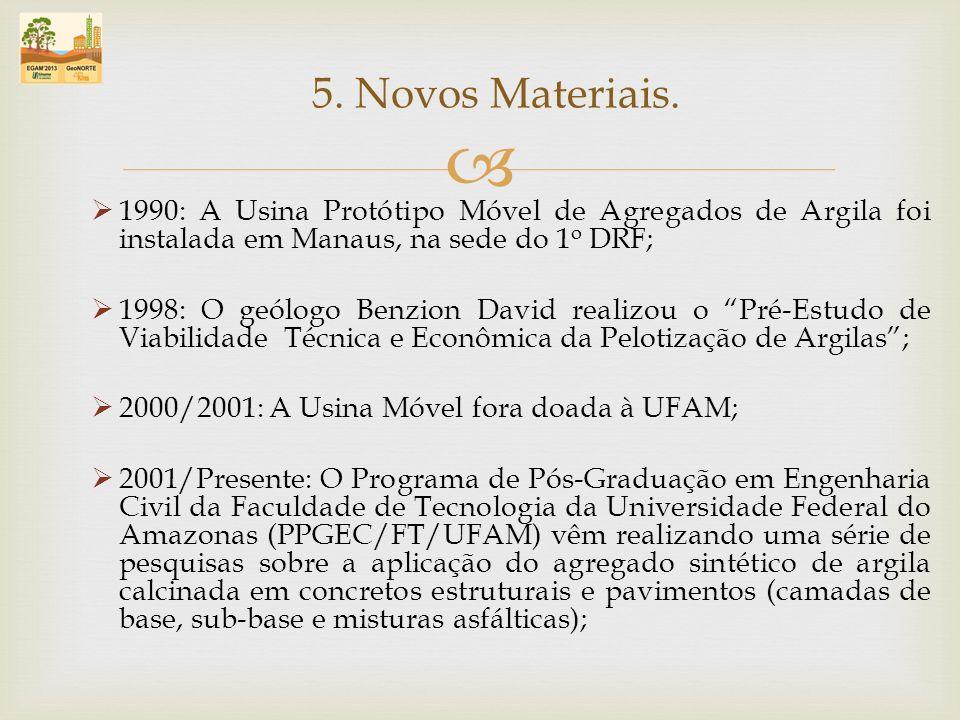 5. Novos Materiais. 1990: A Usina Protótipo Móvel de Agregados de Argila foi instalada em Manaus, na sede do 1o DRF;