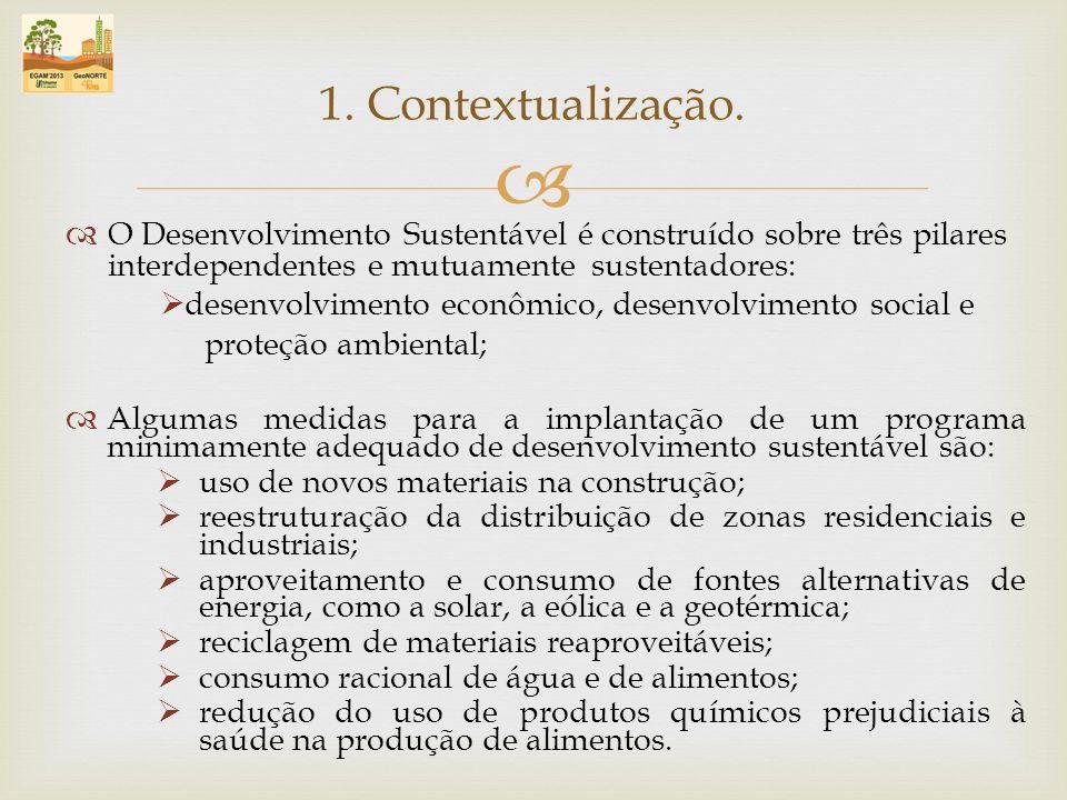 1. Contextualização. O Desenvolvimento Sustentável é construído sobre três pilares interdependentes e mutuamente sustentadores: