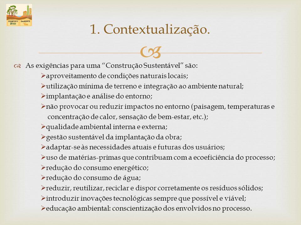 1. Contextualização. As exigências para uma Construção Sustentável são: aproveitamento de condições naturais locais;