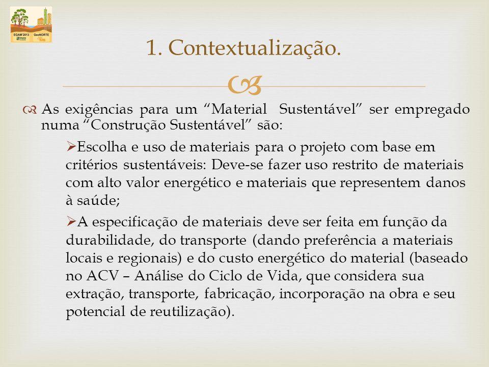 1. Contextualização. As exigências para um Material Sustentável ser empregado numa Construção Sustentável são: