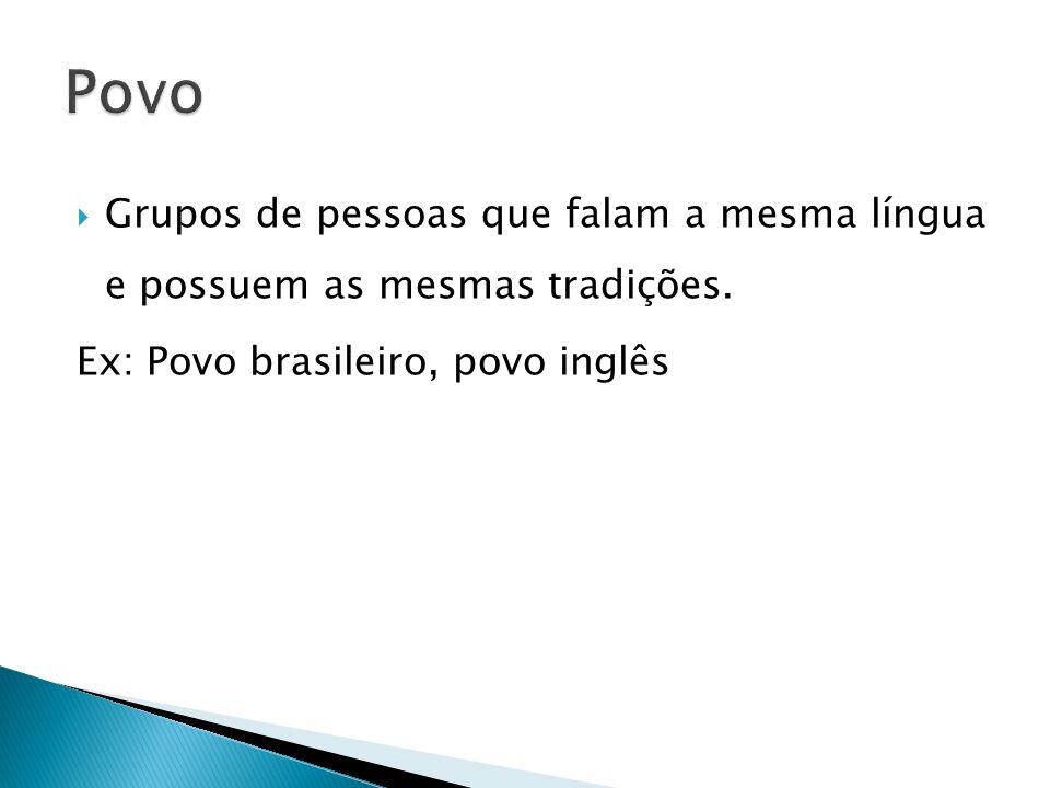Povo Grupos de pessoas que falam a mesma língua e possuem as mesmas tradições.