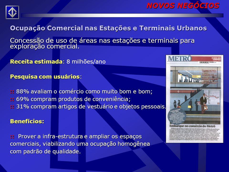 NOVOS NEGÓCIOS Ocupação Comercial nas Estações e Terminais Urbanos
