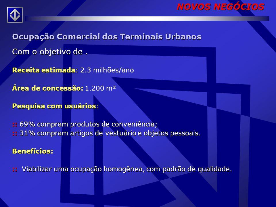 NOVOS NEGÓCIOS Ocupação Comercial dos Terminais Urbanos