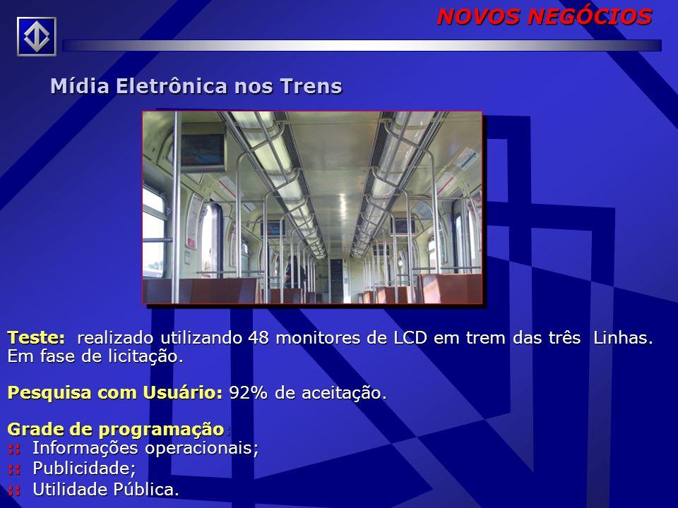 NOVOS NEGÓCIOS Mídia Eletrônica nos Trens