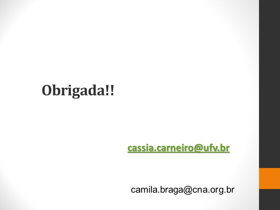 Obrigada!! cassia.carneiro@ufv.br camila.braga@cna.org.br
