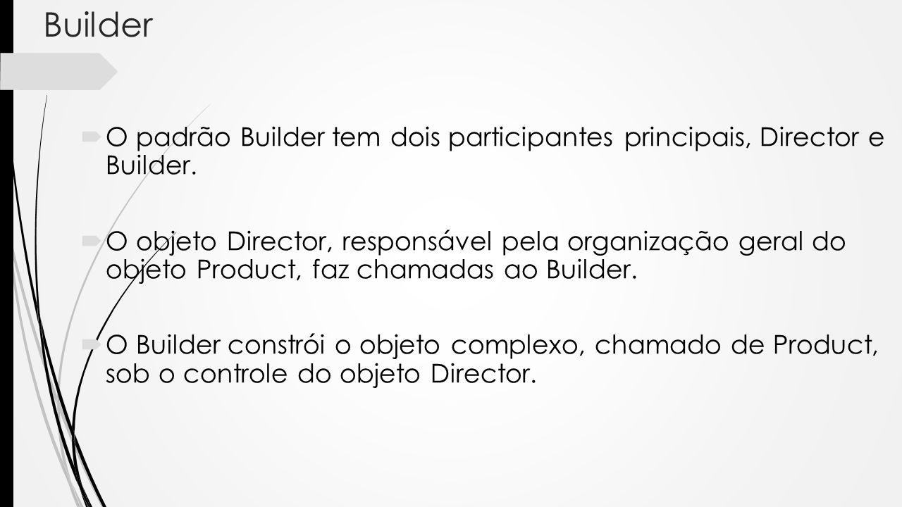 Builder O padrão Builder tem dois participantes principais, Director e Builder.