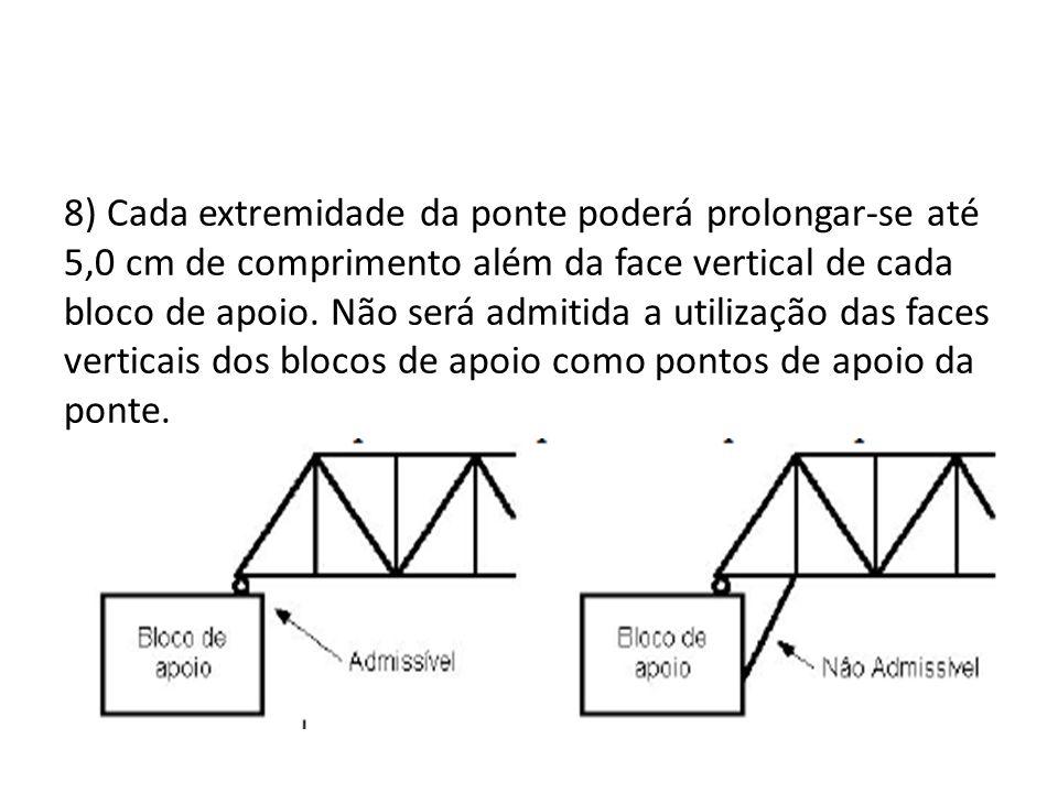 8) Cada extremidade da ponte poderá prolongar-se até 5,0 cm de comprimento além da face vertical de cada bloco de apoio.