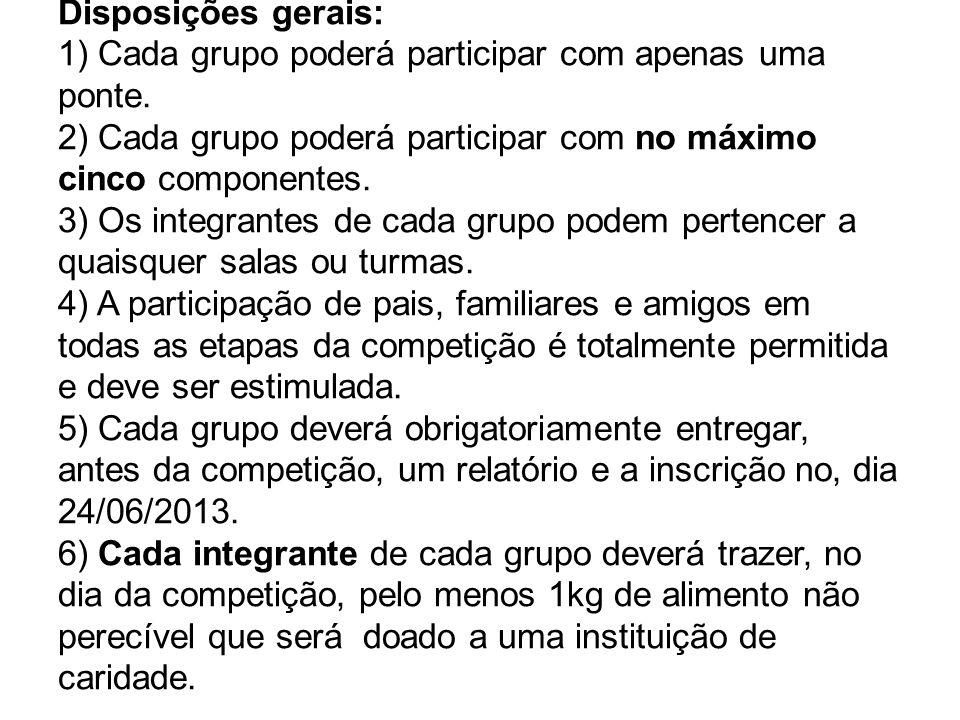 Disposições gerais: 1) Cada grupo poderá participar com apenas uma ponte.