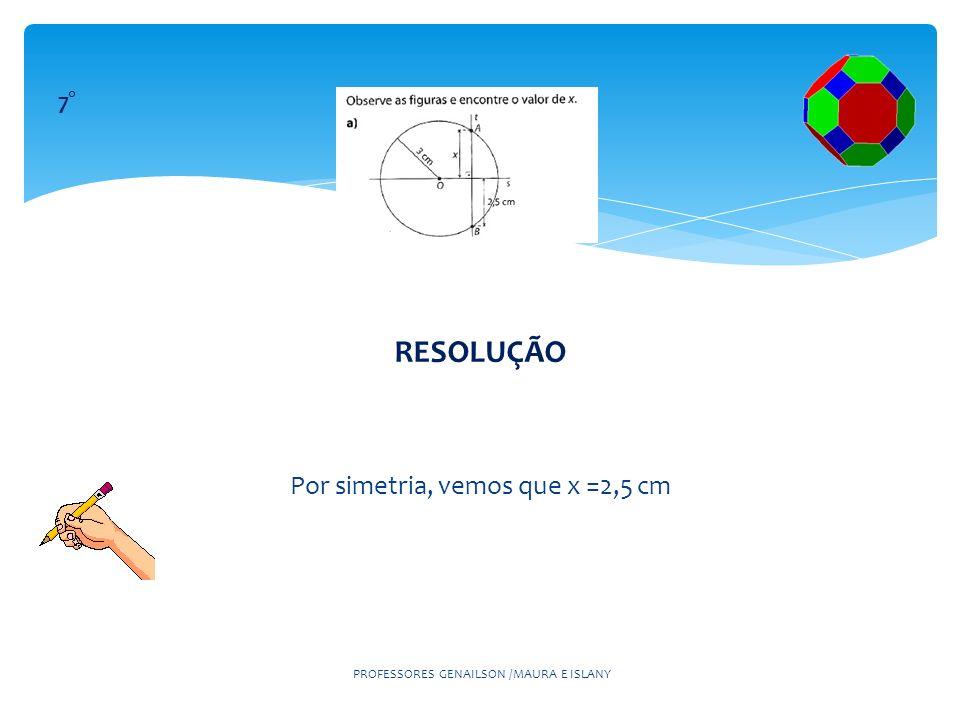 RESOLUÇÃO Por simetria, vemos que x =2,5 cm 7°