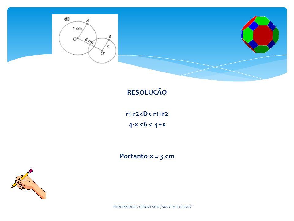 RESOLUÇÃO r1-r2<D< r1+r2 4-x <6 < 4+x Portanto x = 3 cm