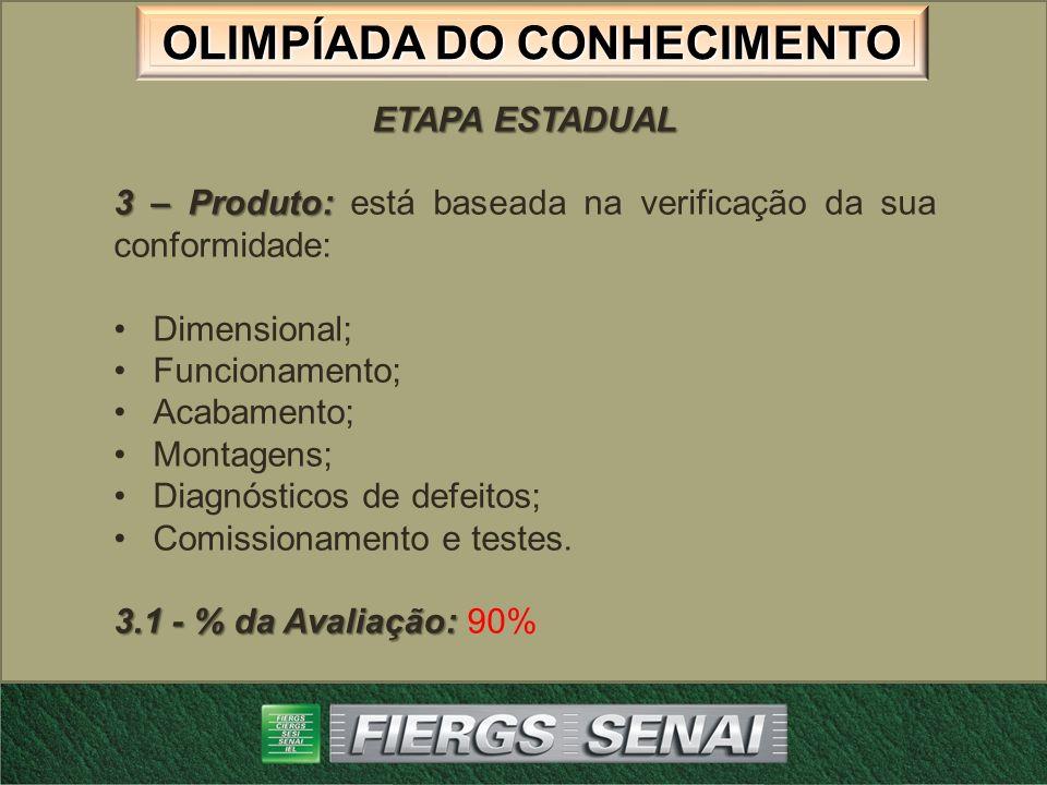 ETAPA ESTADUAL 3 – Produto: está baseada na verificação da sua conformidade: Dimensional; Funcionamento;