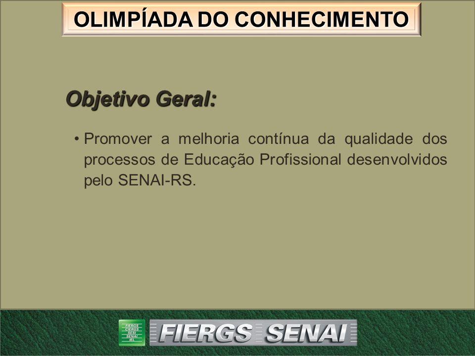 Objetivo Geral: Promover a melhoria contínua da qualidade dos processos de Educação Profissional desenvolvidos pelo SENAI-RS.