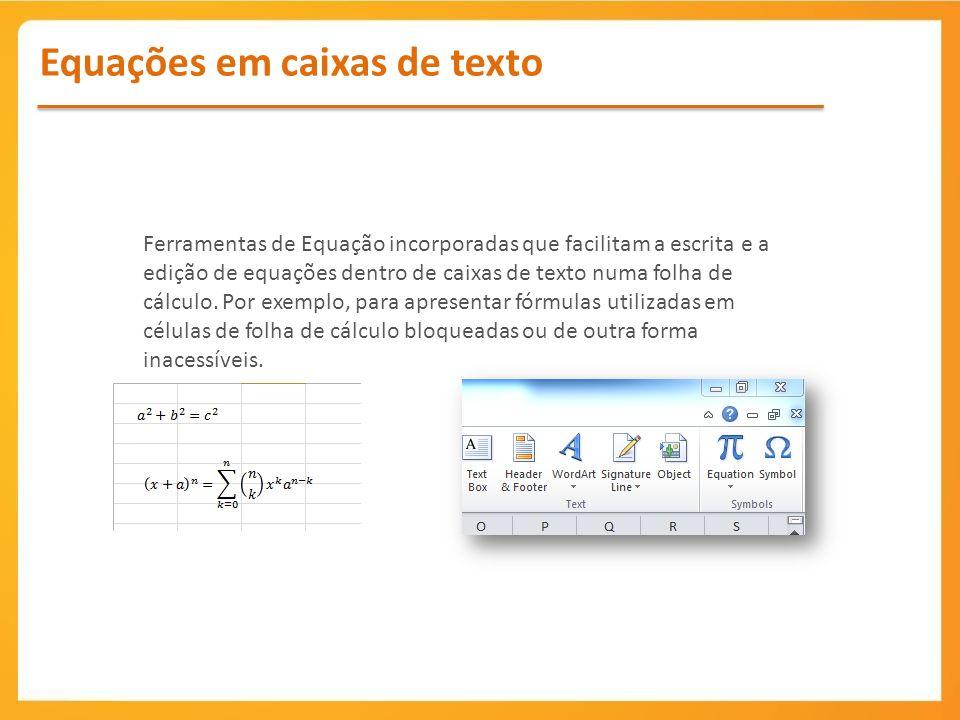 Equações em caixas de texto