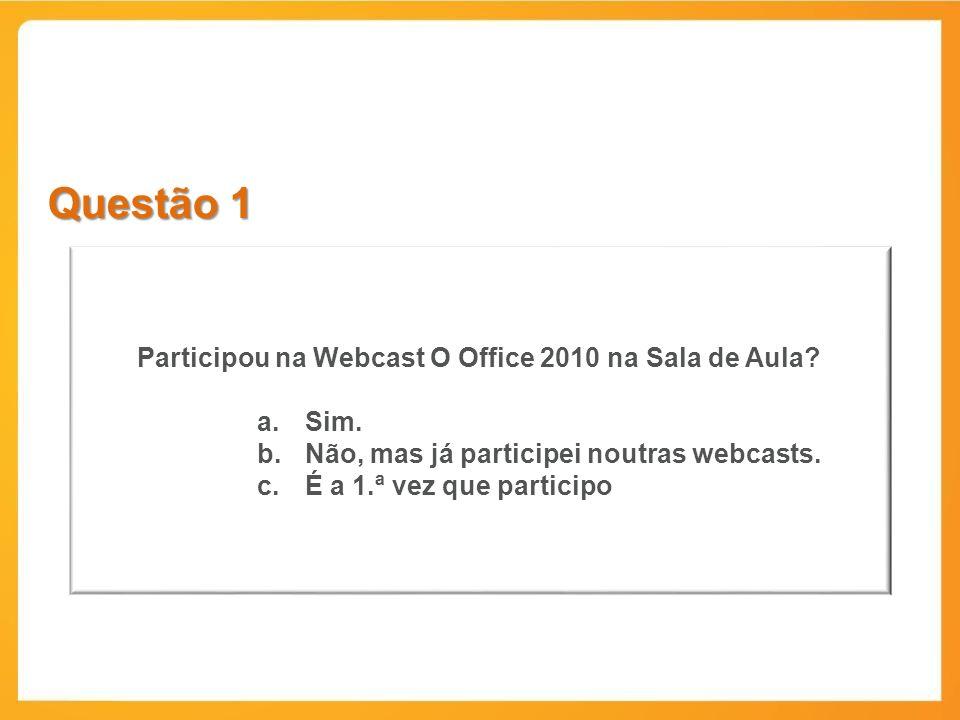 Participou na Webcast O Office 2010 na Sala de Aula
