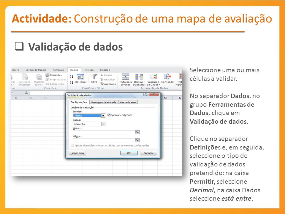Actividade: Construção de uma mapa de avaliação