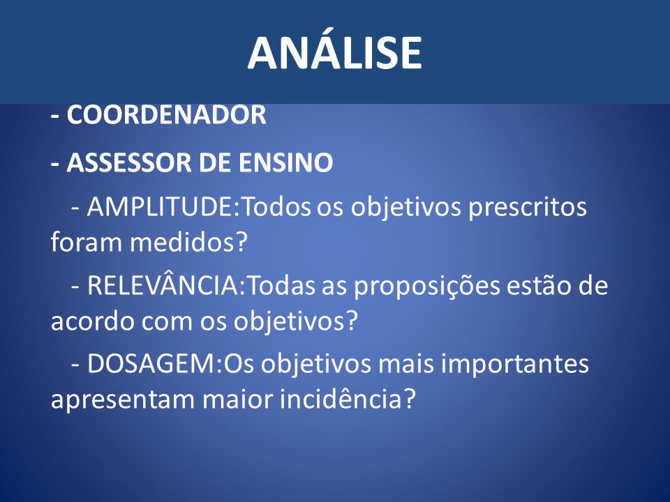 ANÁLISE - COORDENADOR - ASSESSOR DE ENSINO