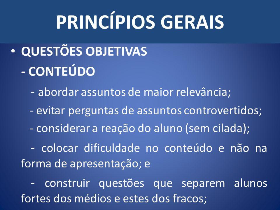 PRINCÍPIOS GERAIS QUESTÕES OBJETIVAS - CONTEÚDO