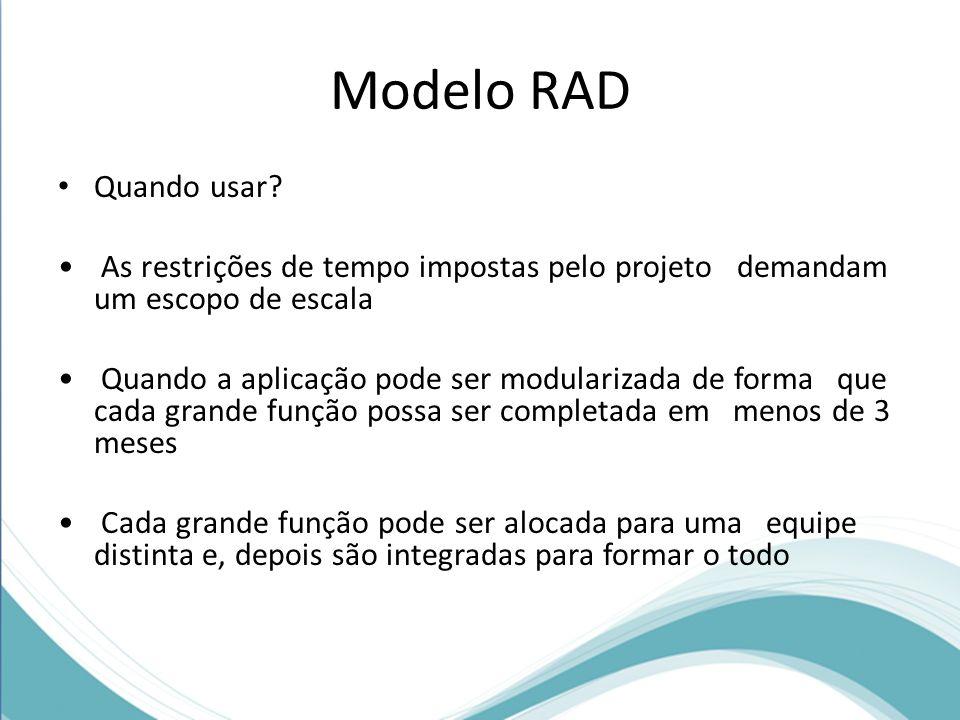 Modelo RAD Quando usar As restrições de tempo impostas pelo projeto demandam um escopo de escala.