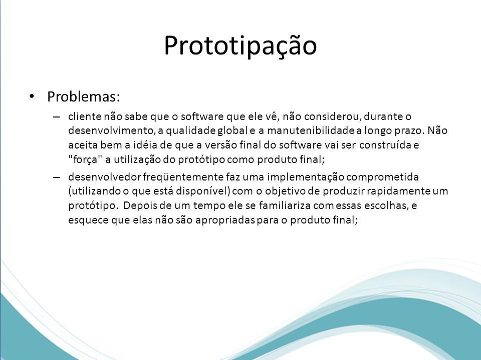 Prototipação Problemas: