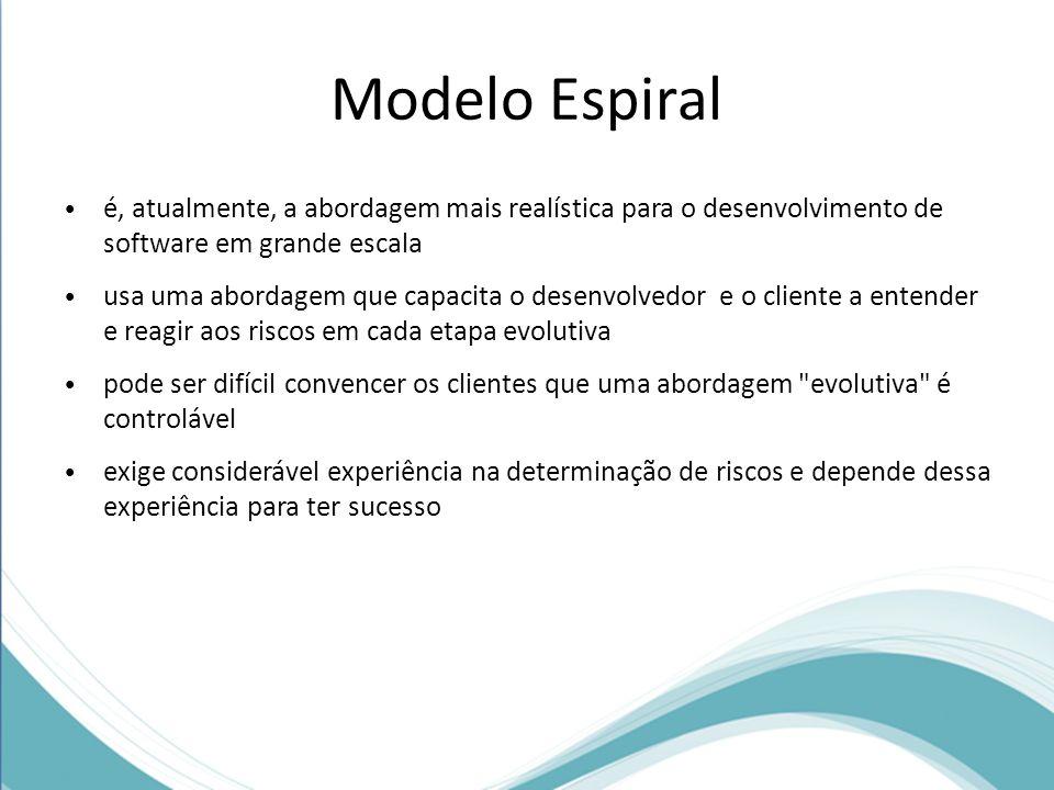 Modelo Espiral é, atualmente, a abordagem mais realística para o desenvolvimento de software em grande escala.