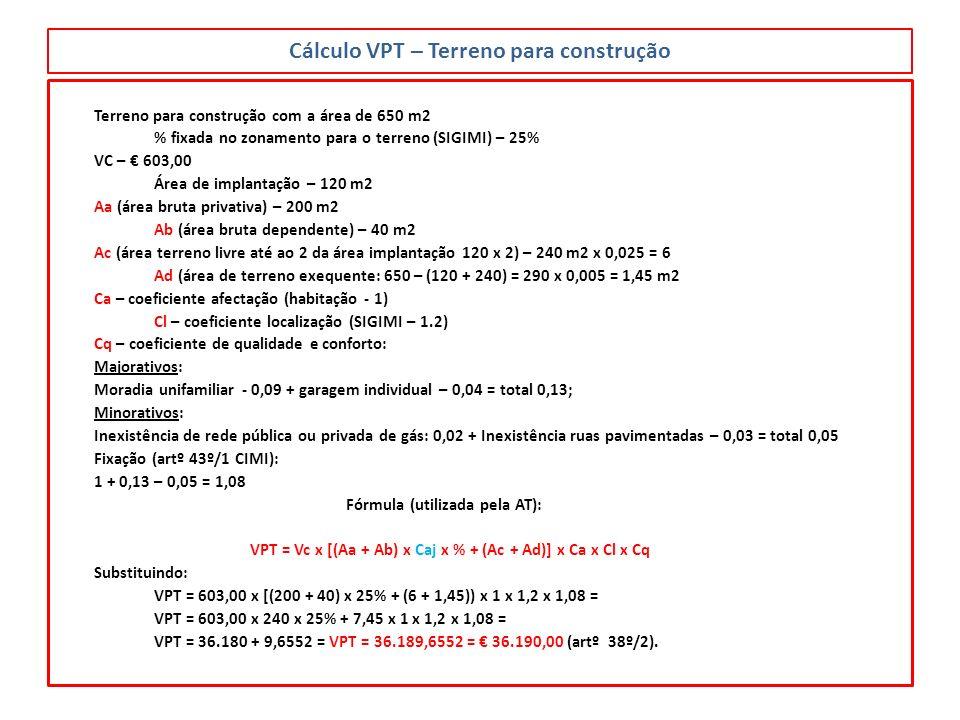 Cálculo VPT – Terreno para construção