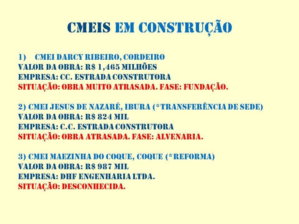 Cmeis em construção CMEI DARCY RIBEIRO, CORDEIRO
