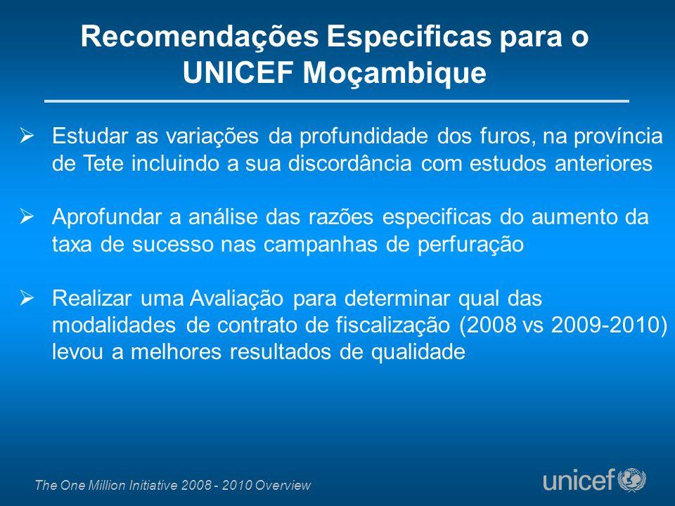 Recomendações Especificas para o UNICEF Moçambique