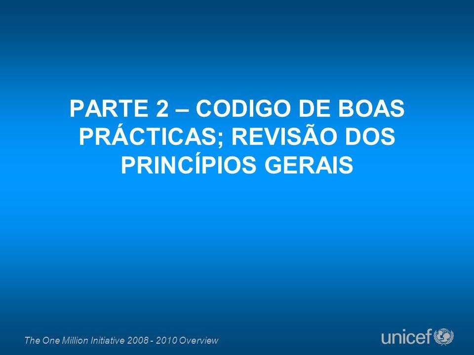 PARTE 2 – CODIGO DE BOAS PRÁCTICAS; REVISÃO DOS PRINCÍPIOS GERAIS