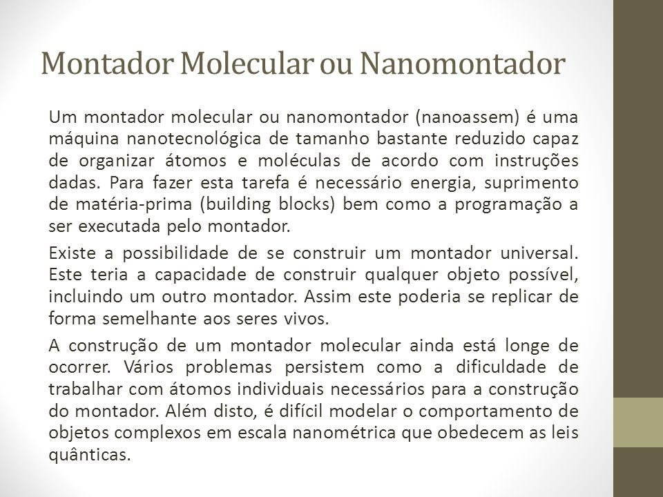 Montador Molecular ou Nanomontador