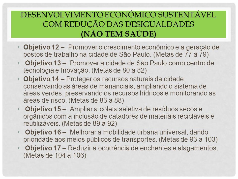 DESENVOLVIMENTO ECONÔMICO SUSTENTÁVEL COM REDUÇÃO DAS DESIGUALDADES (não tem saúde)