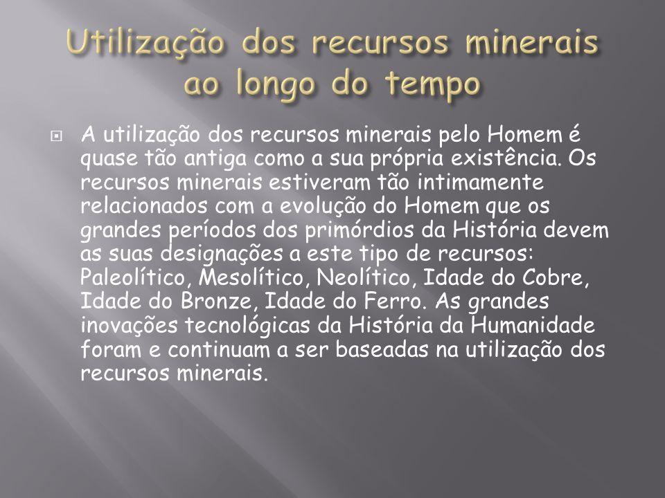 Utilização dos recursos minerais ao longo do tempo