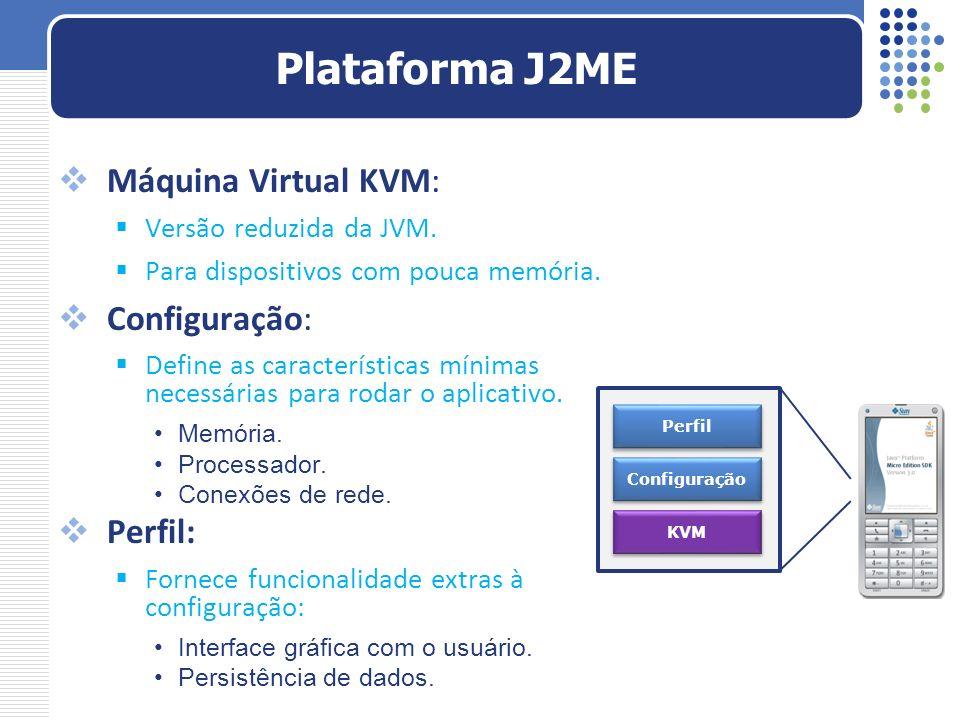 Plataforma J2ME Máquina Virtual KVM: Configuração: Perfil:
