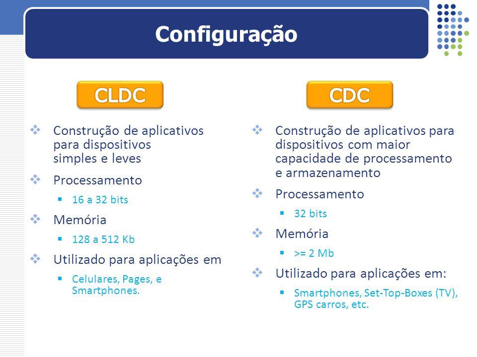 Configuração CLDC. CDC. Construção de aplicativos para dispositivos simples e leves. Processamento.