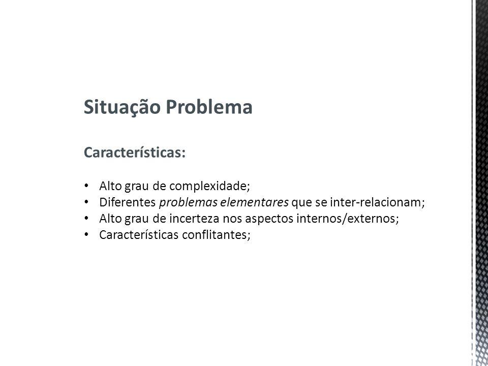 Situação Problema Características: Alto grau de complexidade;