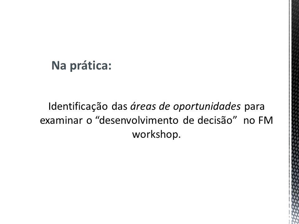 Na prática: Identificação das áreas de oportunidades para examinar o desenvolvimento de decisão no FM workshop.