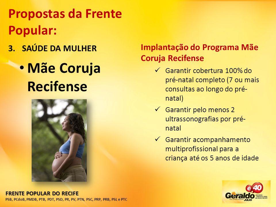 Mãe Coruja Recifense Propostas da Frente Popular: SAÚDE DA MULHER