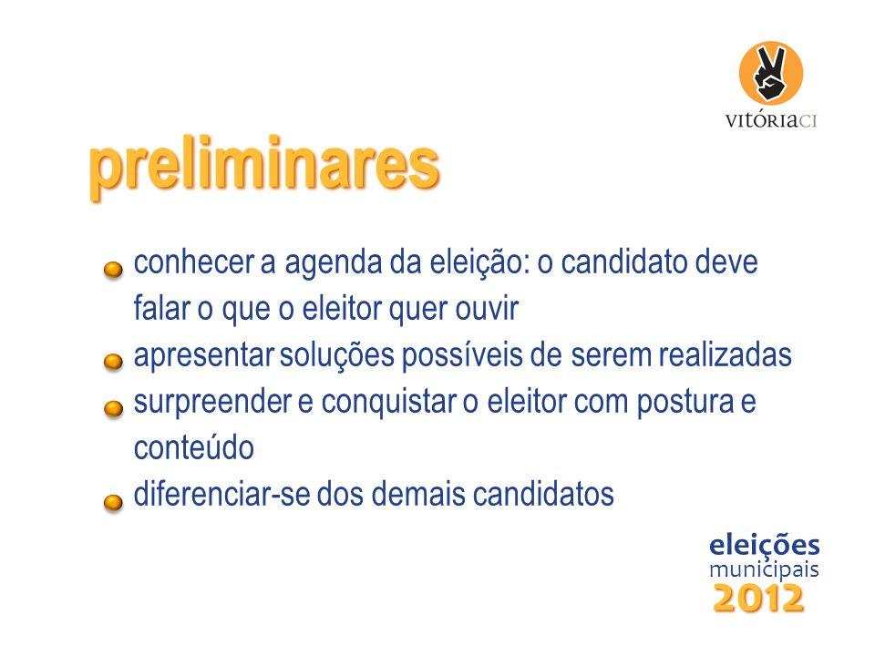 preliminares conhecer a agenda da eleição: o candidato deve falar o que o eleitor quer ouvir. apresentar soluções possíveis de serem realizadas.