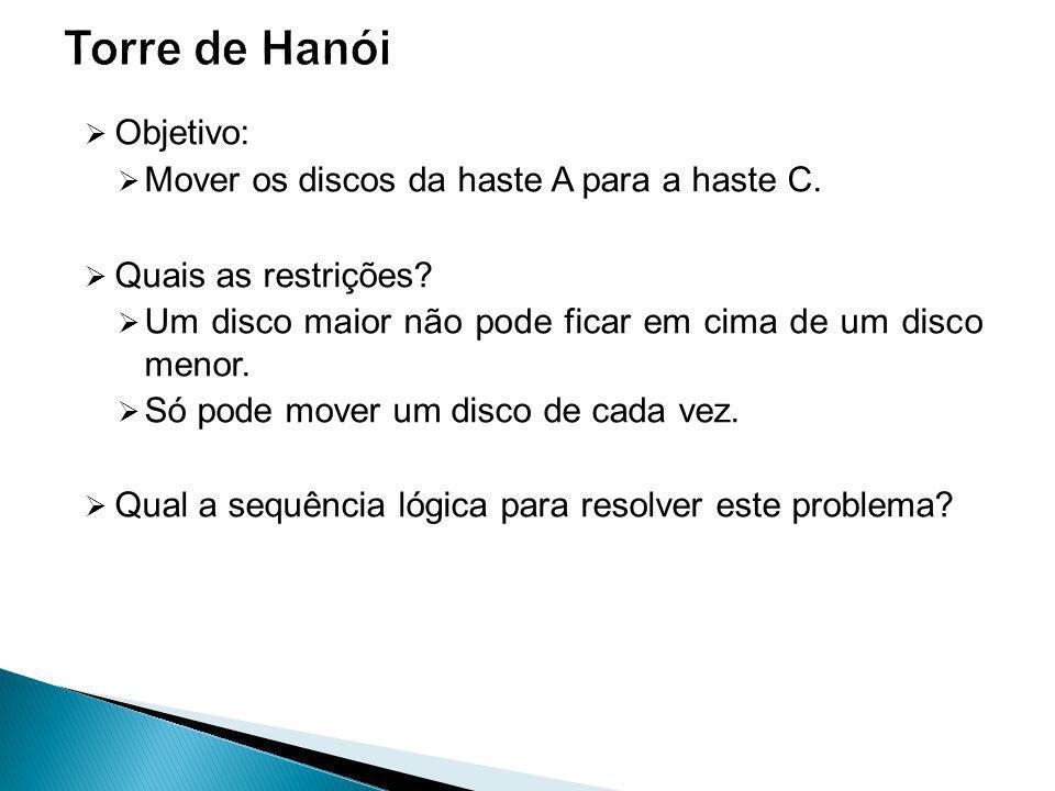 Torre de Hanói Objetivo: Mover os discos da haste A para a haste C.