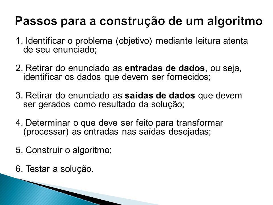 Passos para a construção de um algoritmo