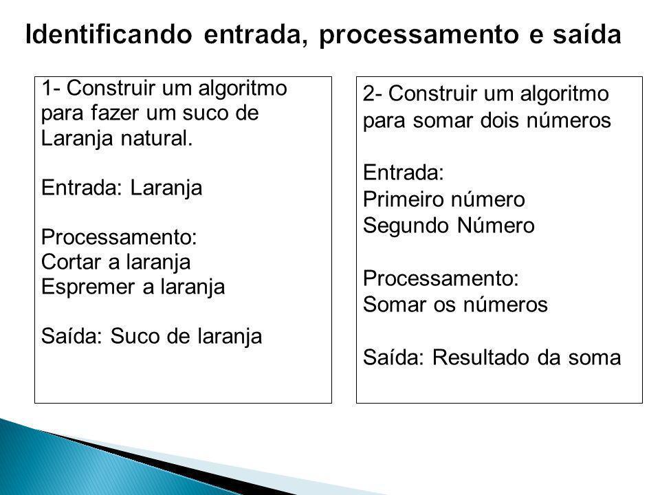 Identificando entrada, processamento e saída